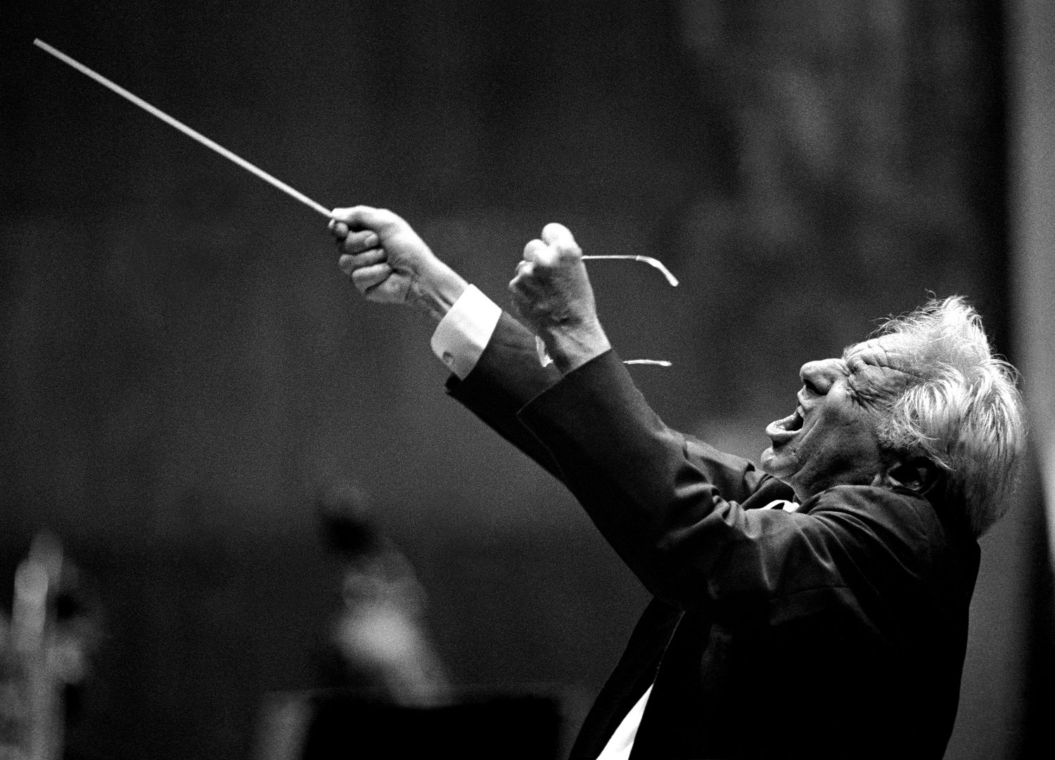"June 1988. Avery Fisher Hall, New York City. Leonard Bernstein conducting the Chicago Symphony Orchestra in Shostakovich's ""Symphony No. 7, Leningrad."" Photograph by © Steve J. Sherman"